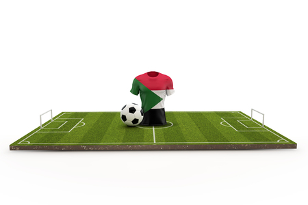 Sudan soccer shirt national flag on a football pitch. 3D Rendering
