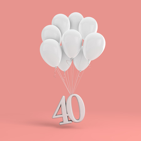 Number 40 party celebration. Number attached to a bunch of white balloons Banco de Imagens