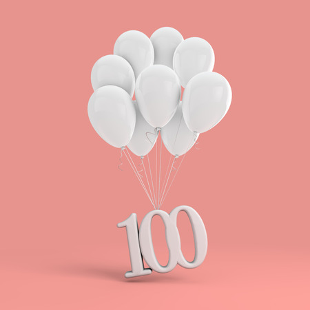 Number 100 party celebration. Number attached to a bunch of white balloons 版權商用圖片
