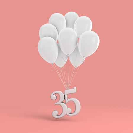 Number 35 party celebration. Number attached to a bunch of white balloons