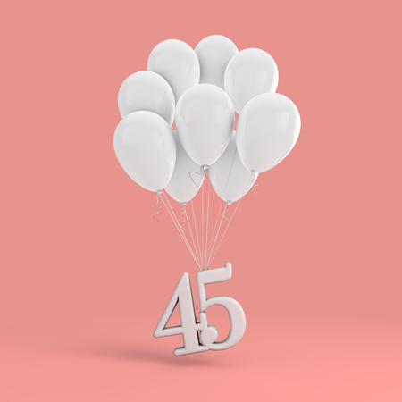 Number 45 party celebration. Number attached to a bunch of white balloons Banco de Imagens