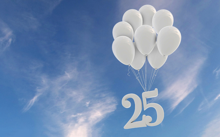 Number 25 party celebration. Number attached to a bunch of white balloons against blue sky Zdjęcie Seryjne