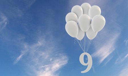 Number 9 party celebration. Number attached to a bunch of white balloons against blue sky