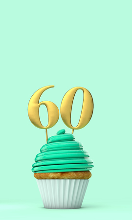 Number 60 mint green birthday celebration cupcake. 3D Rendering
