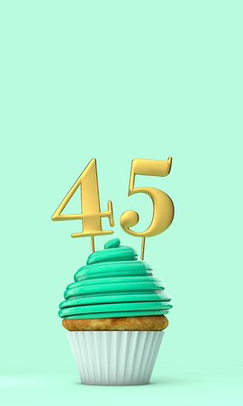 Number 45 mint green birthday celebration cupcake. 3D Rendering