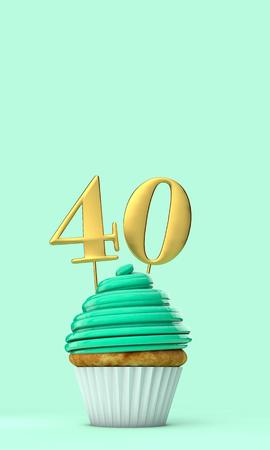 Number 40 mint green birthday celebration cupcake. 3D Rendering Banco de Imagens