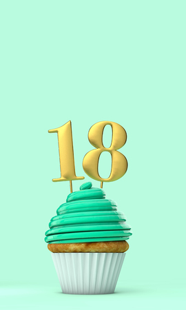 Number 18 mint green birthday celebration cupcake. 3D Rendering