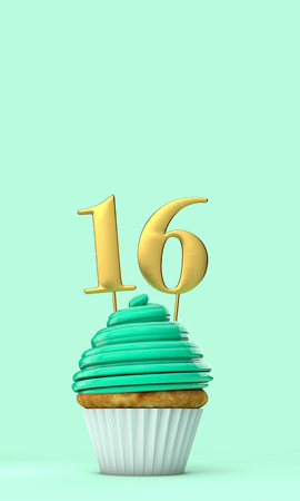 Number 16 mint green birthday celebration cupcake. 3D Rendering Stock Photo