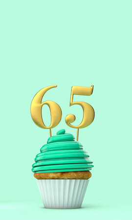 Number 65 mint green birthday celebration cupcake. 3D Rendering