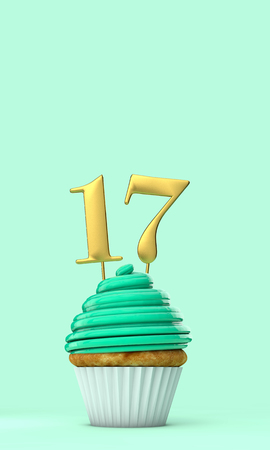 Number 17 mint green birthday celebration cupcake. 3D Rendering Stock Photo
