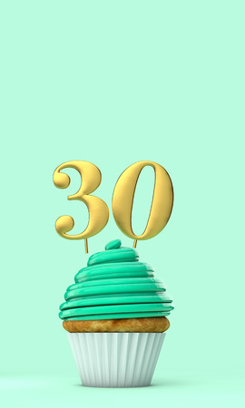 Number 30 mint green birthday celebration cupcake. 3D Rendering Фото со стока