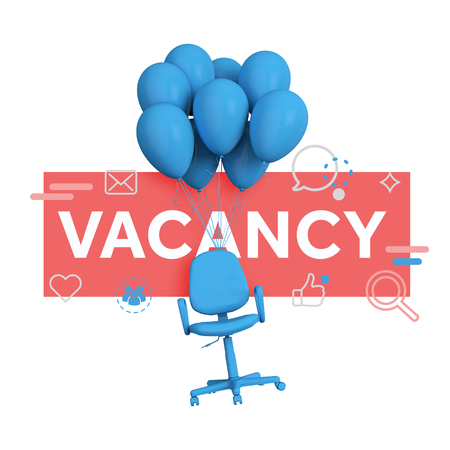 Recruitment concept. Office chair with vacancy message. 3D Rendering Stock Photo