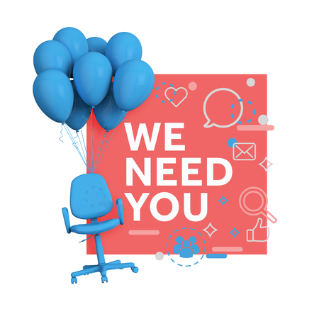 Recruitment concept. Office chair with we need you message. 3D Rendering Banco de Imagens