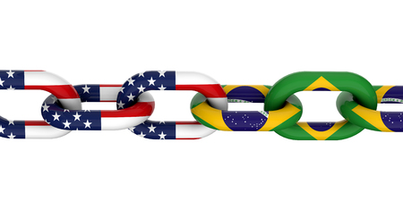 USA and Brazil relationship concept. National flags on linked chain. 3D Rendering