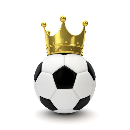 Soccer ball with gold crown. Winning sport concept. 3D Rendering