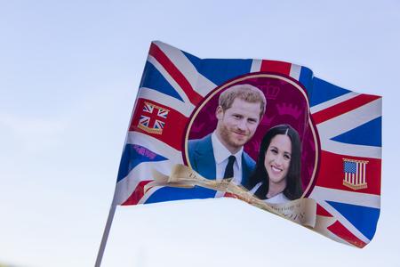 LONDON, UK - MAY 14th 2018: Union jack flag celebrating the Royal wedding of Prince Harry and Meghan markle. Stok Fotoğraf - 101946978