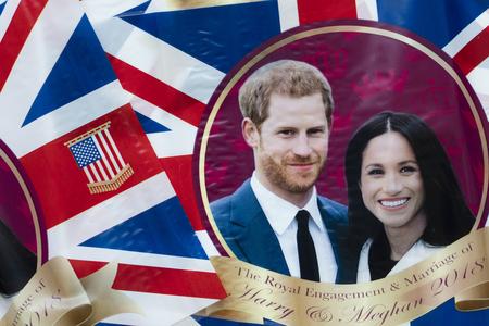 London, Verenigd Koninkrijk - 14 mei 2018: Union Jack vlag viert het koninklijk huwelijk van Prins Harry en Meghan Markle.