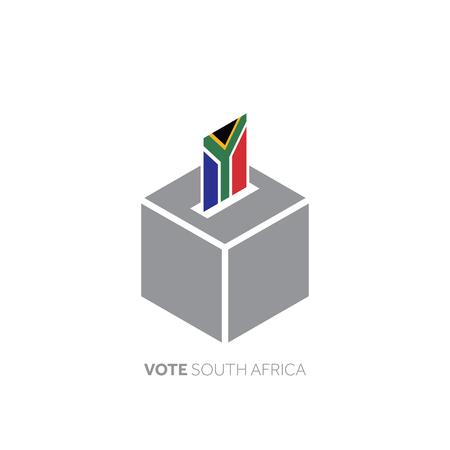 Concept de vote en Afrique du Sud. Drapeau national et urne. Vecteurs