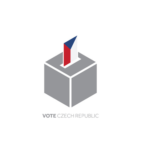 Czech Republic voting concept. National flag and ballot box. Illustration