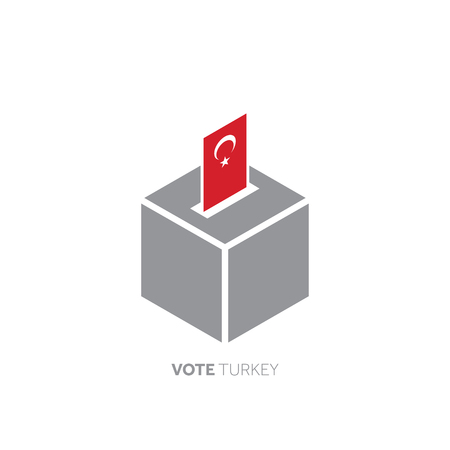 Turkey voting concept. National flag and ballot box.