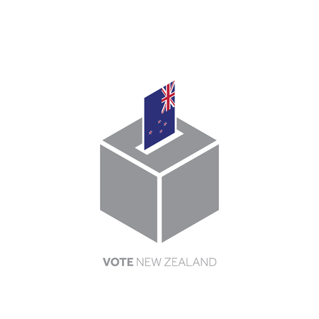 New Zealand voting concept. National flag and ballot box.