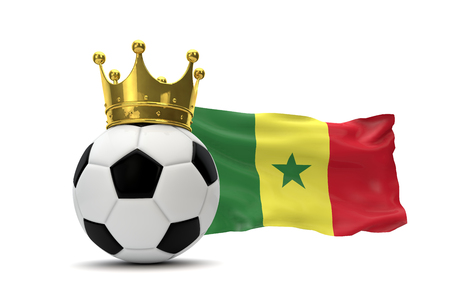Senegal flag and soccer ball with gold crown. 3D Rendering Banco de Imagens