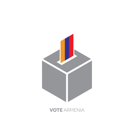Armenia voting concept. National flag and ballot box.