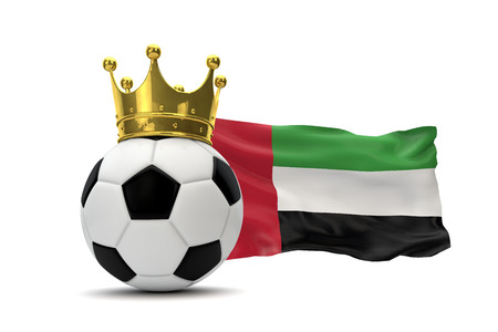 United Arab Emirates flag and soccer ball with gold crown. 3D Rendering