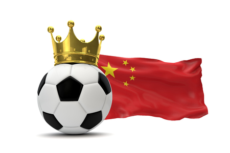 China flag and soccer ball with gold crown. 3D Rendering Reklamní fotografie