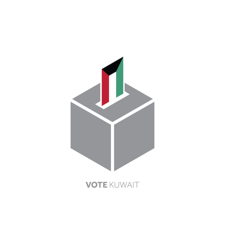 Kuwait voting concept. National flag and ballot box.