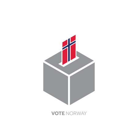 Norway voting concept. National flag and ballot box.