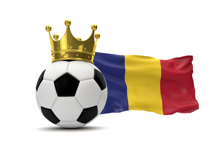 Romania flag and soccer ball with gold crown. 3D Rendering Stock Photo