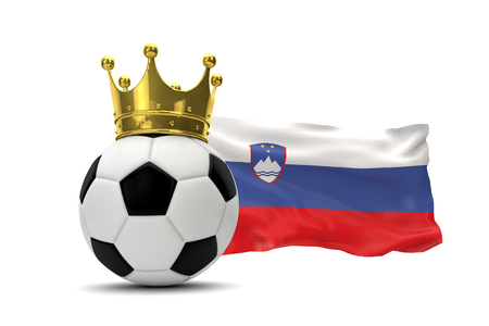 Slovenia flag and soccer ball with gold crown. 3D Rendering