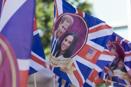 LONDON, UK - MAY 15th 2018: Union jack flag wedding merchandise celebrating the Royal wedding of Prince Harry and Meghan markle. Editorial