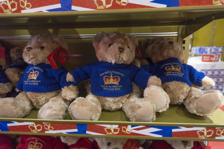 LONDON, UK - MAY 15th 2018: Teddy bears on sale in Hamleys toy store celebrating the Royal wedding of Prince Harry and Meghan markle.