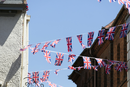 Union Jack flags hang in Windsor in preperation for the royal wedding