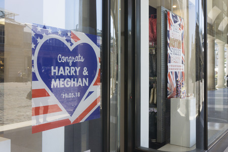 WINDSOR, UK - MAY 15th 2018: Shop display celebrating the Royal wedding of Prince Harry and Meghan markle.