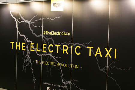 LONDON, UK - MAY 18th 2018: London Electric Vehicle Company electric taxi at the confused.com London motor show at the excel convention centre. Stock Photo - 101948986