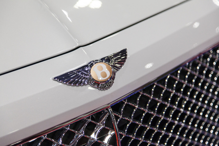 LONDON, UK - MAY 18th 2018: Bentley car sign at the confused.com London motor show at the excel convention centre. The show is the UK's largest automotive retail event Editorial