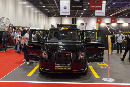 LONDON, UK - MAY 18th 2018: London Electric Vehicle Company electric taxi at the confused.com London motor show at the excel convention centre. Editorial