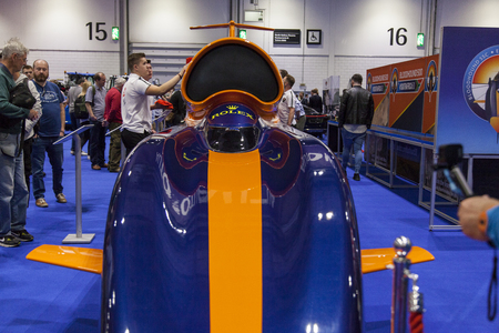 LONDON, UK - MAY 18th 2018: The Bloodhound 1,000mph World Land Speed Record attempt car at the confused.com London motor show at the excel convention centre.