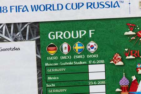LONDON, UK - CIRCA MAY 2018: Official group F information for the World Cup 2018 printed on a Panini official sticker book Editorial