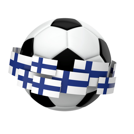 Soccer football with Finland flag against a plain white background. 3D Rendering