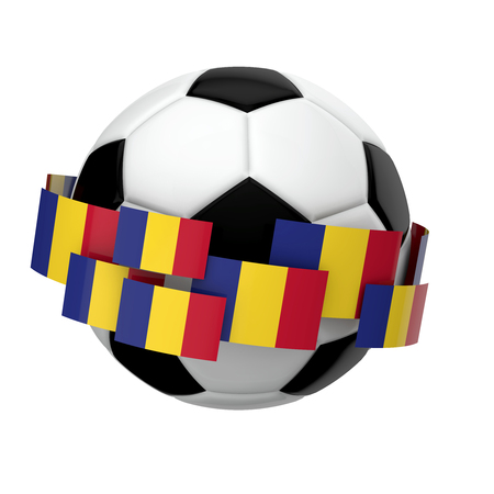 Soccer football with Romania flag against a plain white background. 3D Rendering Foto de archivo