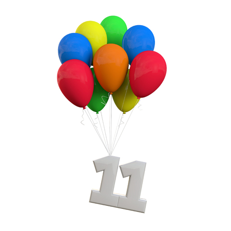 Number 11 party celebration. Number attached to a bunch of balloons. 3D Rendering