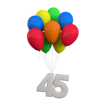 Number 45 party celebration. Number attached to a bunch of balloons. 3D Rendering