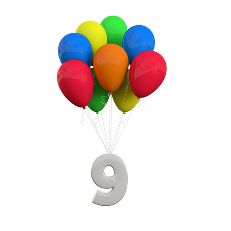 Number 9 party celebration. Number attached to a bunch of balloons. 3D Rendering