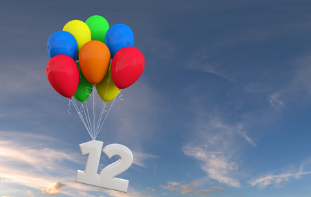 Number 12 party celebration. Number attached to a bunch of balloons. 3D Rendering
