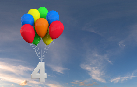 Number 4 party celebration. Number attached to a bunch of balloons. 3D Rendering