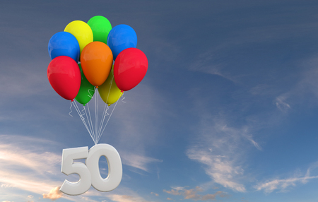 Number 50 party celebration. Number attached to a bunch of balloons. 3D Rendering